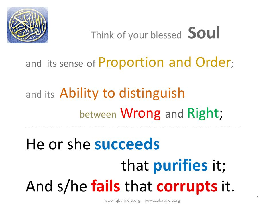 Think of your blessed Soul and its sense of Proportion and Order ; and its Ability to distinguish between Wrong and Right; ---------------------------------------------------------------------------------------------------------------------------------------------------------------------------------------------------------------------------------- He or she succeeds that purifies it; And s/he fails that corrupts it.