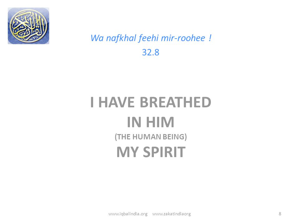I HAVE BREATHED IN HIM (THE HUMAN BEING) MY SPIRIT Wa nafkhal feehi mir-roohee .