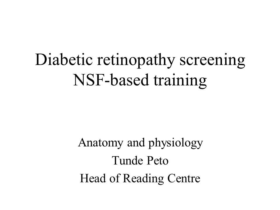 Diabetic retinopathy screening NSF-based training Anatomy and physiology Tunde Peto Head of Reading Centre