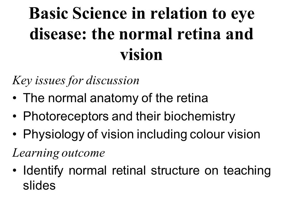 Basic Science in relation to eye disease: the normal retina and vision Key issues for discussion The normal anatomy of the retina Photoreceptors and t
