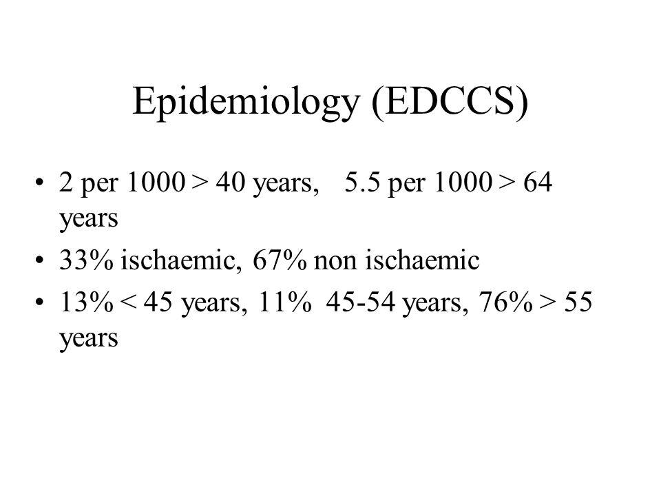 Epidemiology (EDCCS) 2 per 1000 > 40 years, 5.5 per 1000 > 64 years 33% ischaemic, 67% non ischaemic 13% 55 years