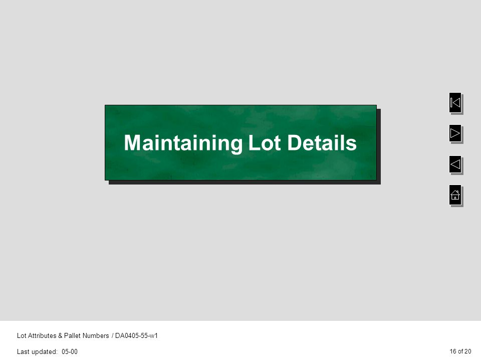 16 of 20 Lot Attributes & Pallet Numbers / DA0405-55-w1 Last updated: 05-00 Maintaining Lot Details
