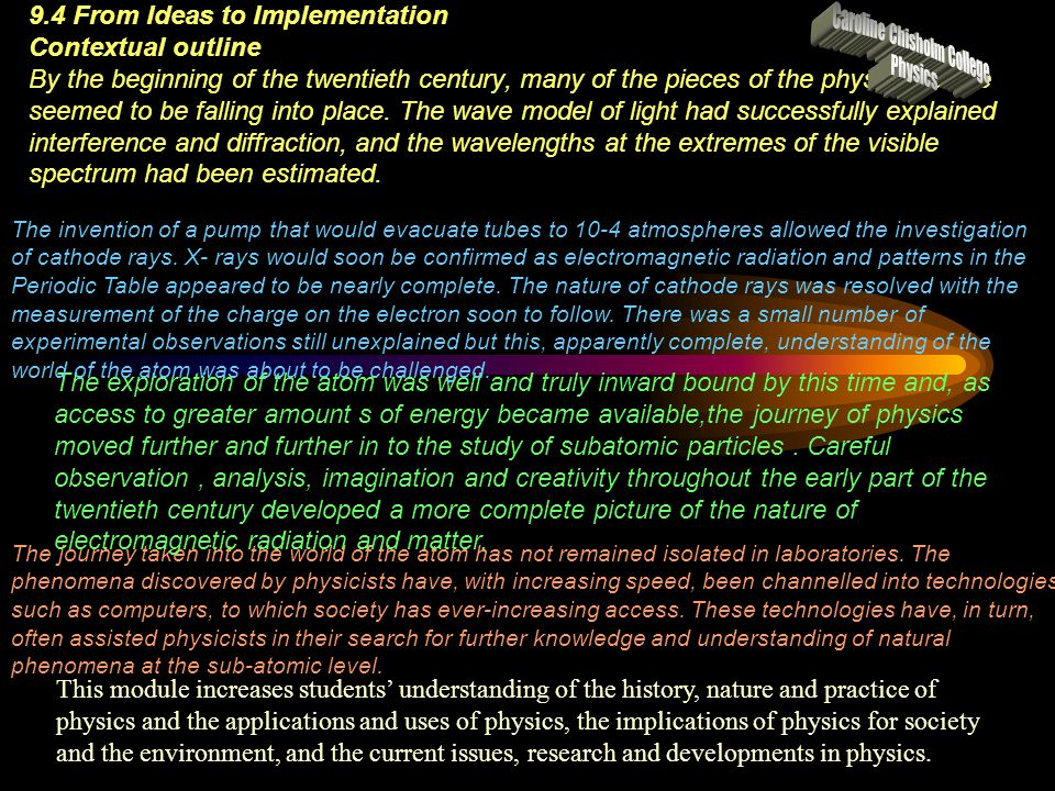 9.4 From Ideas to Implementation Contextual outline By the beginning of the twentieth century, many of the pieces of the physics puzzle seemed to be f