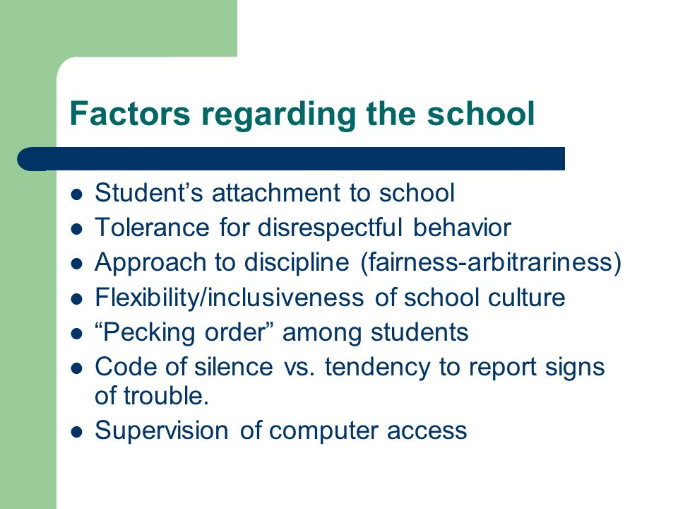 Factors regarding the school Student's attachment to school Tolerance for disrespectful behavior Approach to discipline (fairness-arbitrariness) Flexibility/inclusiveness of school culture Pecking order among students Code of silence vs.
