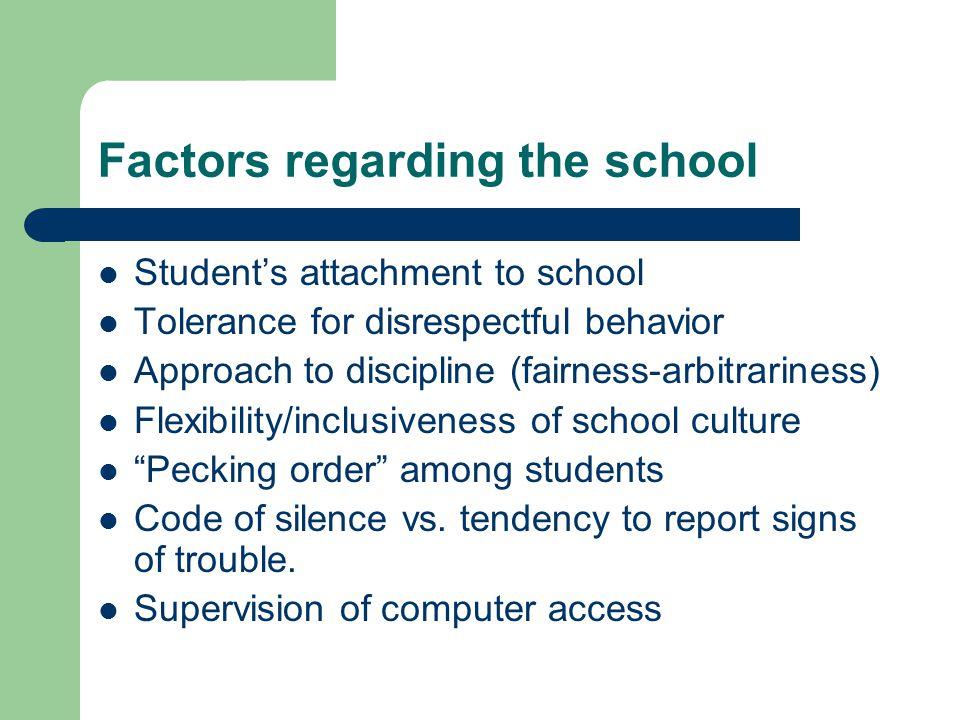 Factors regarding the school Student's attachment to school Tolerance for disrespectful behavior Approach to discipline (fairness-arbitrariness) Flexi