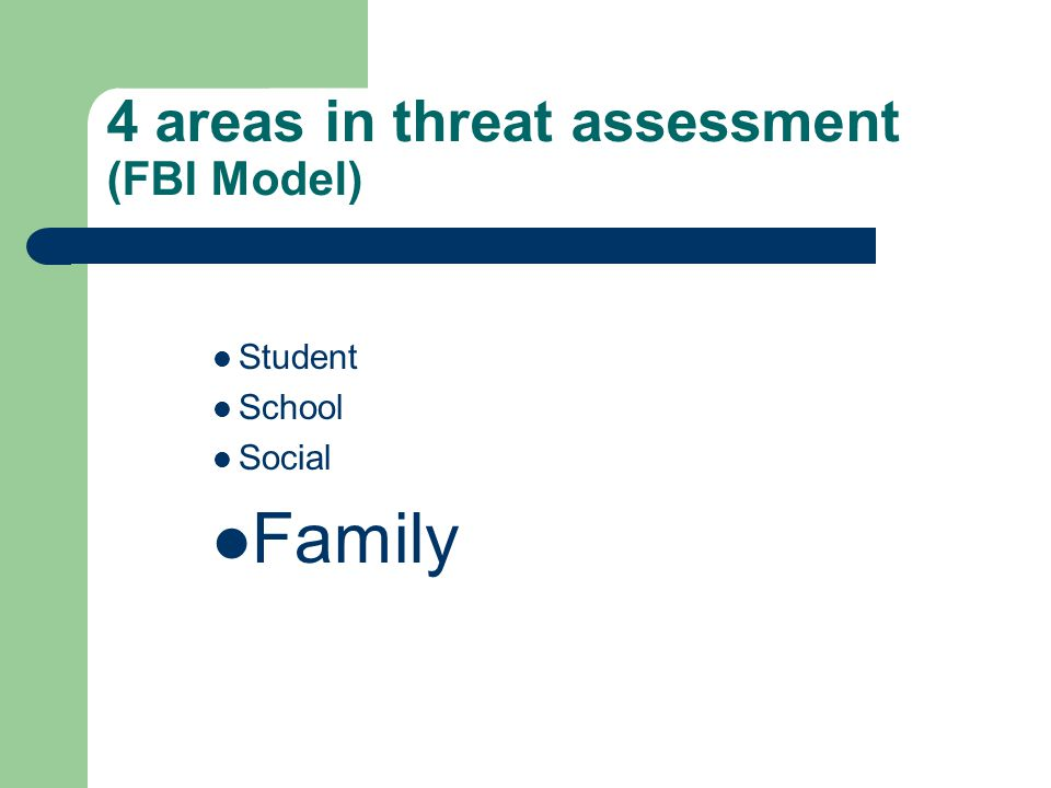 4 areas in threat assessment (FBI Model) Student School Social Family