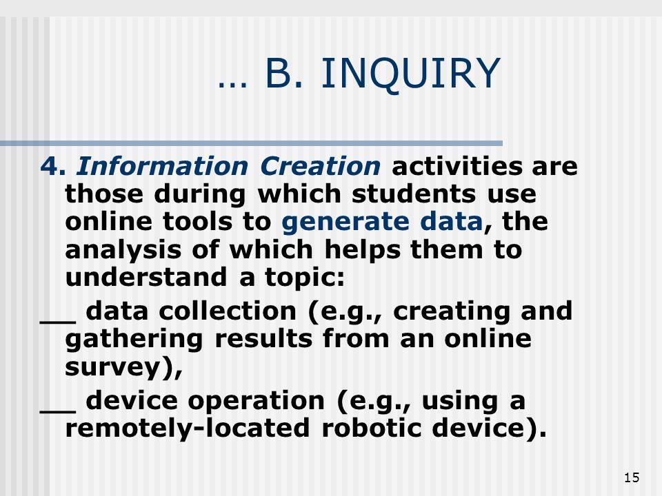 15 … B. INQUIRY 4.