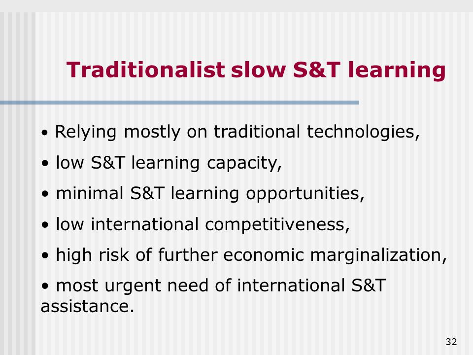 32 Traditionalist slow S&T learning Relying mostly on traditional technologies, low S&T learning capacity, minimal S&T learning opportunities, low international competitiveness, high risk of further economic marginalization, most urgent need of international S&T assistance.