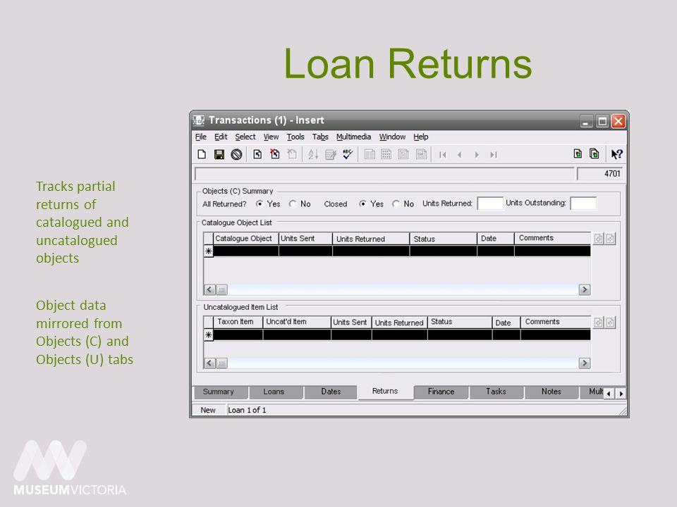 Loan Returns Tracks partial returns of catalogued and uncatalogued objects Object data mirrored from Objects (C) and Objects (U) tabs