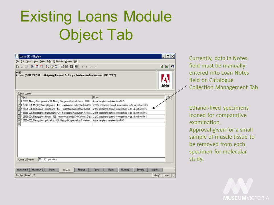 Existing Loans Module Object Tab Currently, data in Notes field must be manually entered into Loan Notes field on Catalogue Collection Management Tab