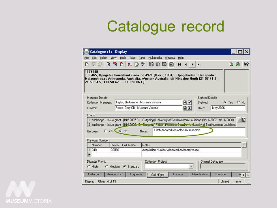 Catalogue record