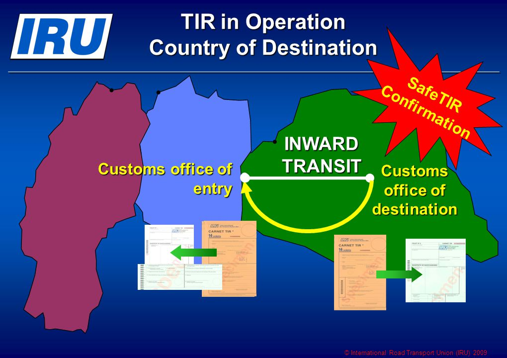 © International Road Transport Union (IRU) 2009 INWARD TRANSIT Customs office of destination Customs office of entry TIR in Operation Country of Destination SafeTIR Confirmation