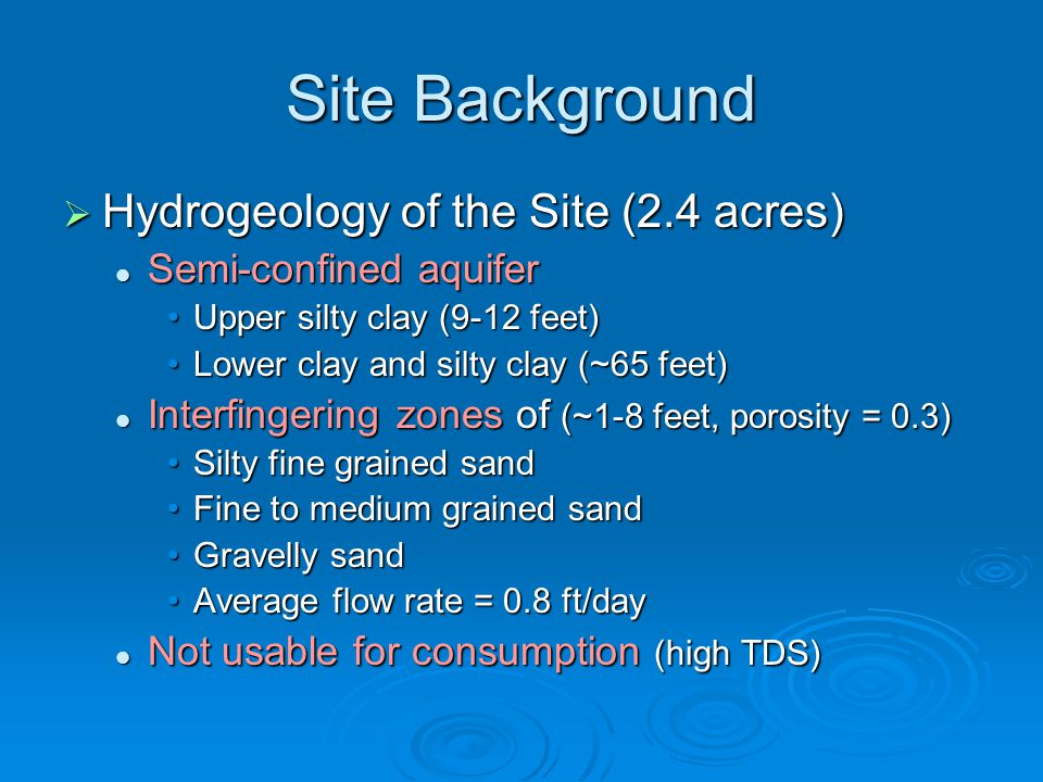  Hydrogeology of the Site (2.4 acres) Semi-confined aquifer Semi-confined aquifer Upper silty clay (9-12 feet)Upper silty clay (9-12 feet) Lower clay and silty clay (~65 feet)Lower clay and silty clay (~65 feet) Interfingering zones of (~1-8 feet, porosity = 0.3) Interfingering zones of (~1-8 feet, porosity = 0.3) Silty fine grained sandSilty fine grained sand Fine to medium grained sandFine to medium grained sand Gravelly sandGravelly sand Average flow rate = 0.8 ft/dayAverage flow rate = 0.8 ft/day Not usable for consumption (high TDS) Not usable for consumption (high TDS)