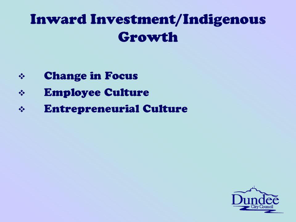 Inward Investment/Indigenous Growth v Change in Focus v Employee Culture v Entrepreneurial Culture