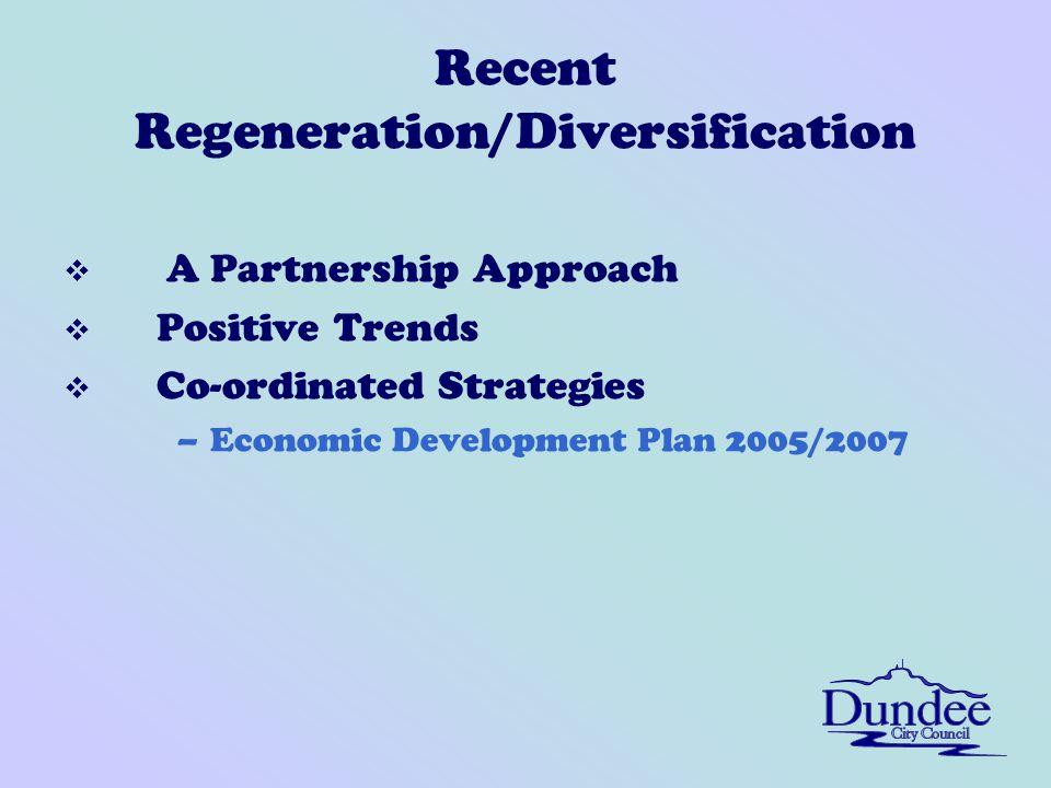 Recent Regeneration/Diversification v A Partnership Approach v Positive Trends v Co-ordinated Strategies –Economic Development Plan 2005/2007