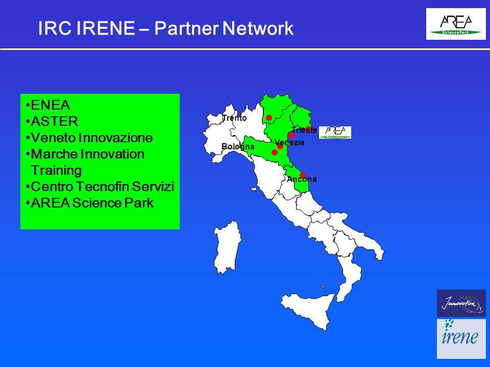 IRC IRENE – Partner Network Trieste Venezia Ancona Trento Bologna ENEA ASTER Veneto Innovazione Marche Innovation Training Centro Tecnofin Servizi AREA Science Park