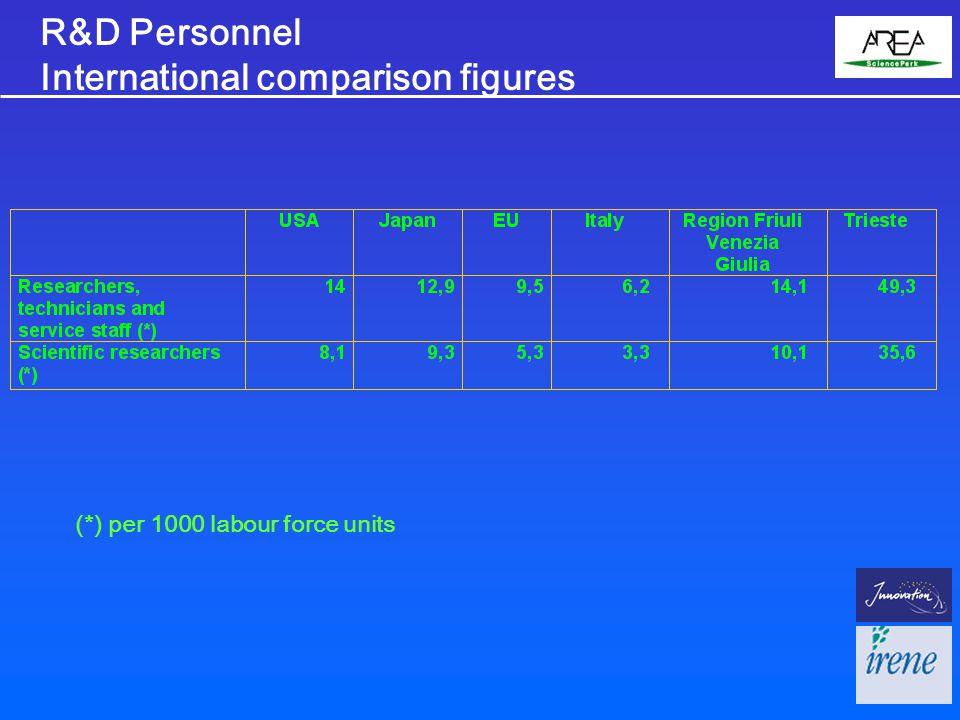 R&D Personnel International comparison figures (*) per 1000 labour force units