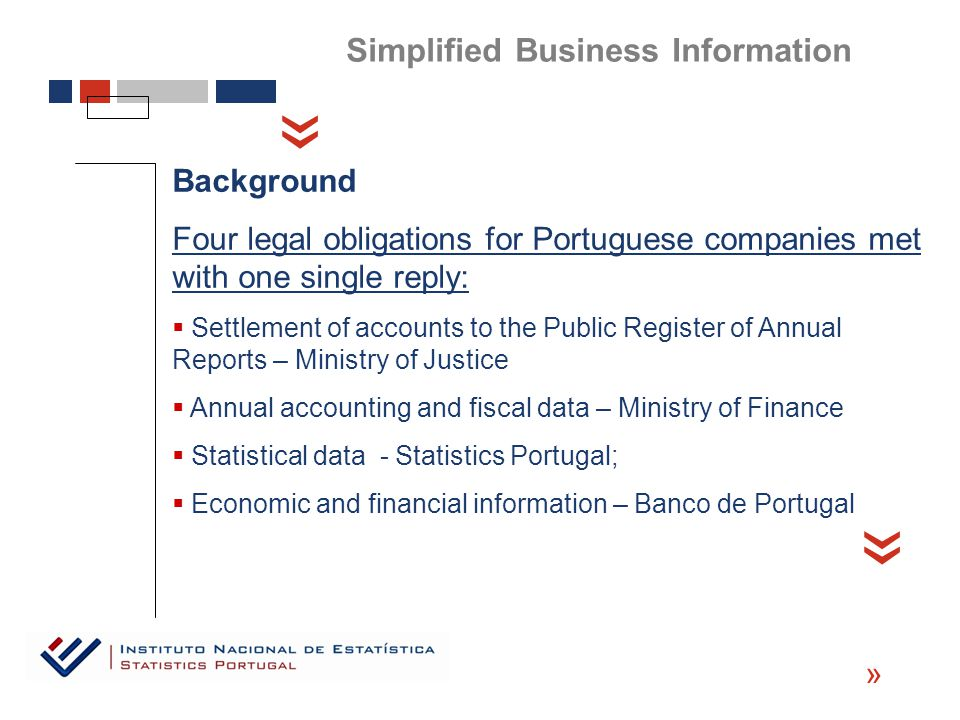 « Background Four legal obligations for Portuguese companies met with one single reply:  Settlement of accounts to the Public Register of Annual Reports – Ministry of Justice  Annual accounting and fiscal data – Ministry of Finance  Statistical data - Statistics Portugal;  Economic and financial information – Banco de Portugal « « Simplified Business Information