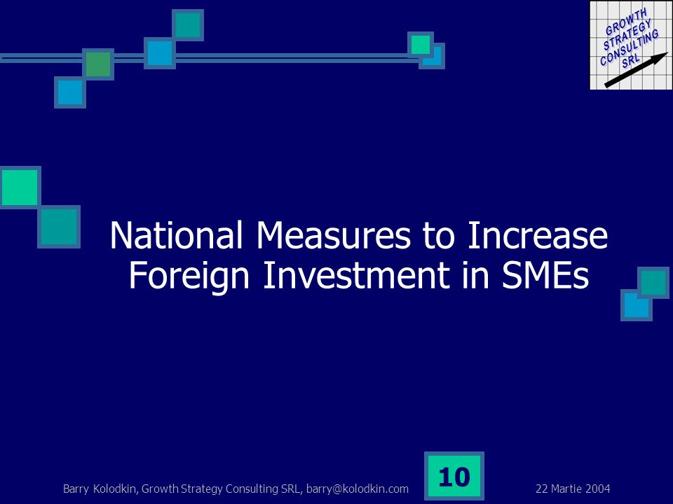 22 Martie 2004 Barry Kolodkin, Growth Strategy Consulting SRL, barry@kolodkin.com 10 National Measures to Increase Foreign Investment in SMEs