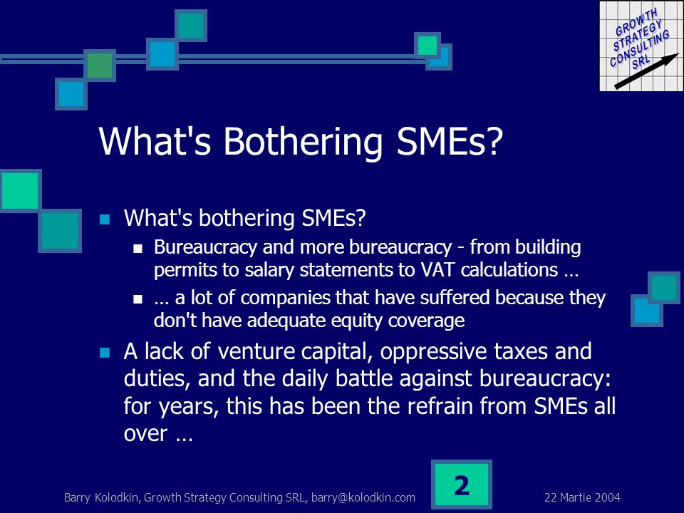 22 Martie 2004 Barry Kolodkin, Growth Strategy Consulting SRL, barry@kolodkin.com 2 What s Bothering SMEs.