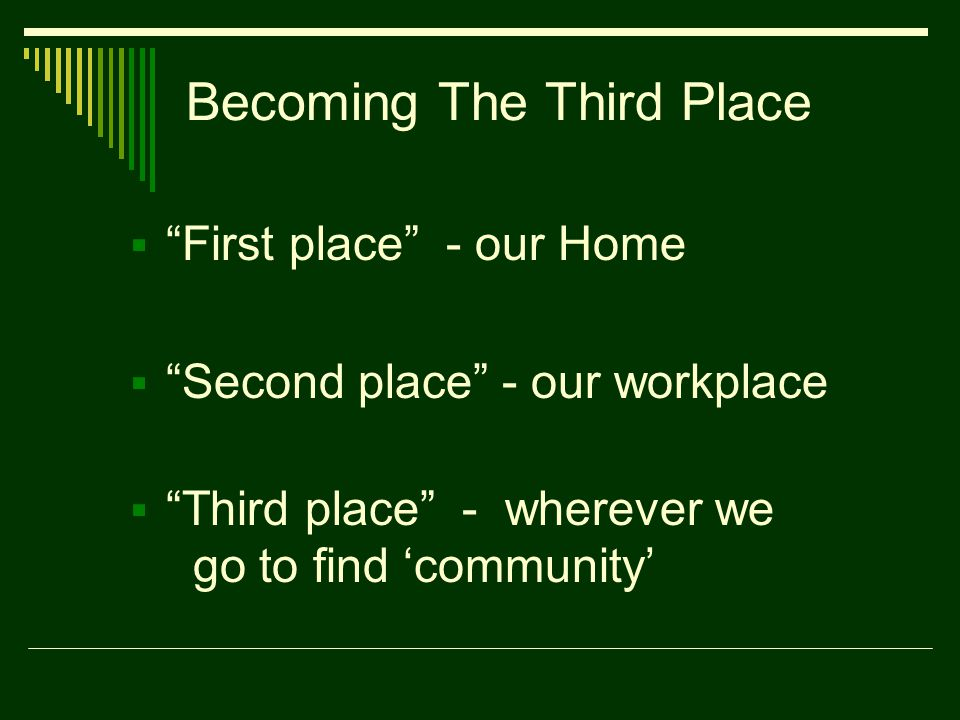 Becoming The Third Place  First place - our Home  Second place - our workplace  Third place - wherever we go to find 'community'
