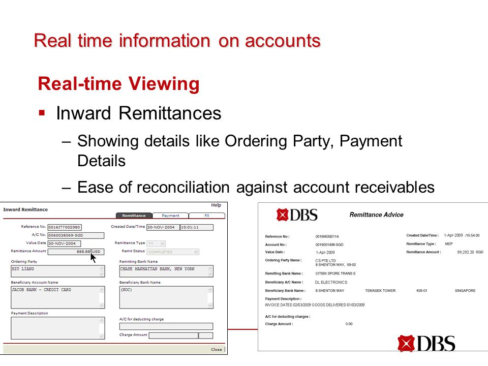 Real time information on accounts Real-time Viewing  Inward Remittances –Showing details like Ordering Party, Payment Details –Ease of reconciliation