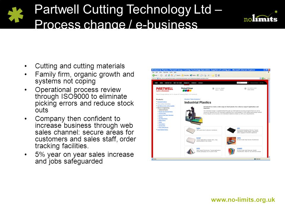 Partwell Cutting Technology Ltd – Process change / e-business www.no-limits.org.uk Cutting and cutting materials Family firm, organic growth and systems not coping Operational process review through ISO9000 to eliminate picking errors and reduce stock outs Company then confident to increase business through web sales channel: secure areas for customers and sales staff, order tracking facilities.
