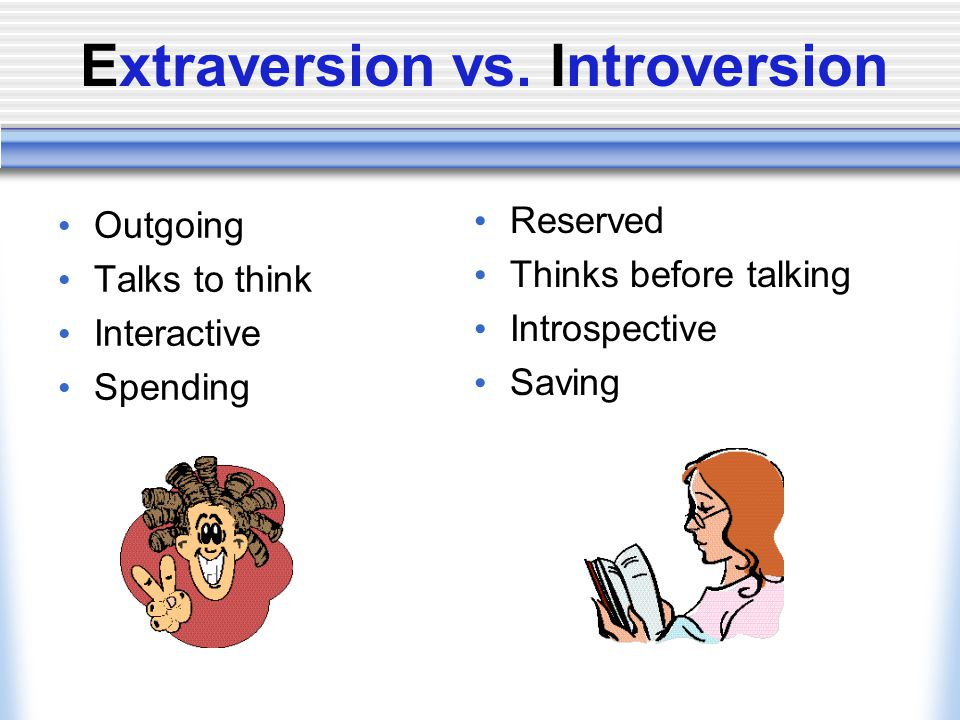 Extraversion vs. Introversion Outgoing Talks to think Interactive Spending Reserved Thinks before talking Introspective Saving