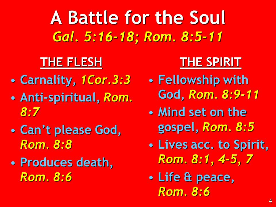 A Battle for the Soul Gal. 5:16-18; Rom.