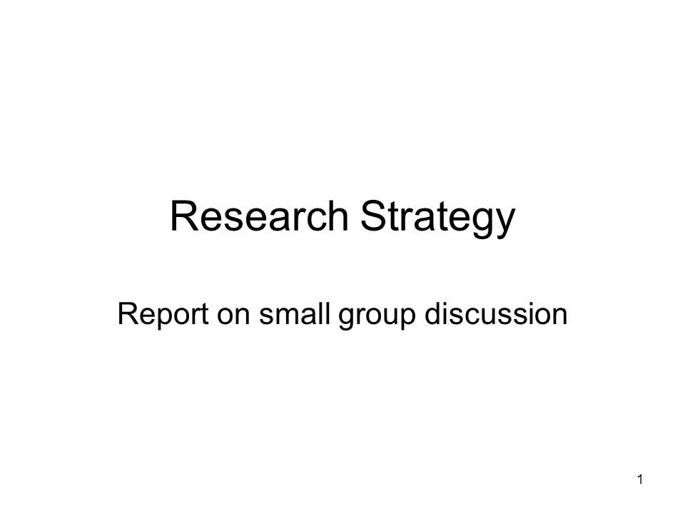 1 Research Strategy Report on small group discussion