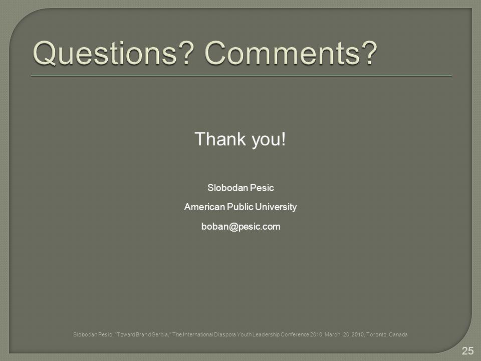 Thank you! Slobodan Pesic American Public University boban@pesic.com Slobodan Pesic,