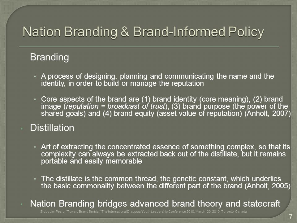 Branding A process of designing, planning and communicating the name and the identity, in order to build or manage the reputation Core aspects of the