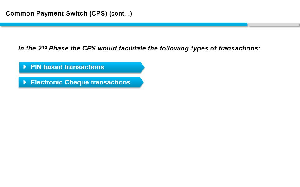 Common Payment Switch (CPS) (cont…) In the 2 nd Phase the CPS would facilitate the following types of transactions:  PIN based transactions  Electronic Cheque transactions