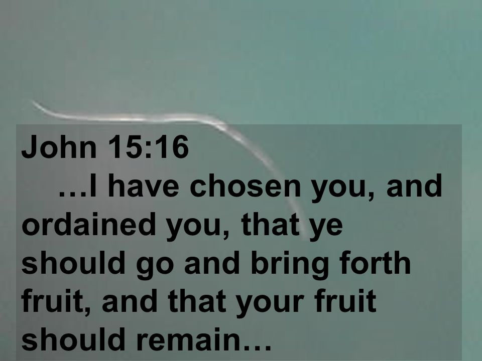 John 15:16 …I have chosen you, and ordained you, that ye should go and bring forth fruit, and that your fruit should remain…