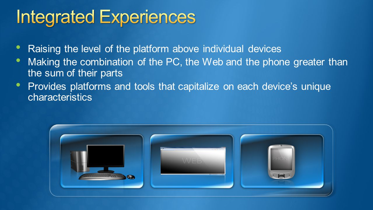 Raising the level of the platform above individual devices Making the combination of the PC, the Web and the phone greater than the sum of their parts