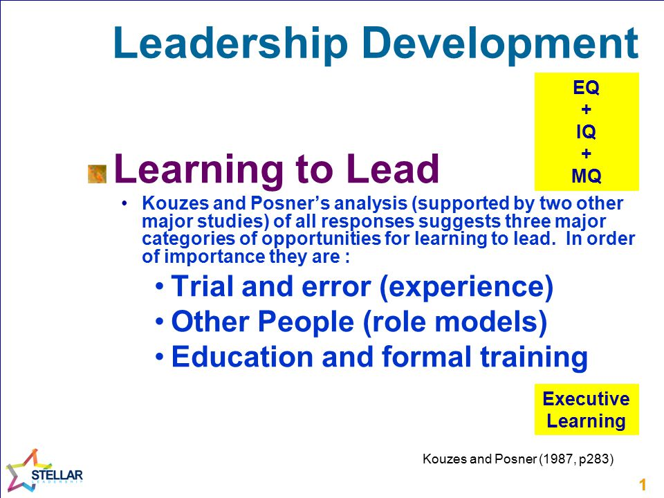 11 Leadership Development Learning to Lead Kouzes and Posner's analysis (supported by two other major studies) of all responses suggests three major c