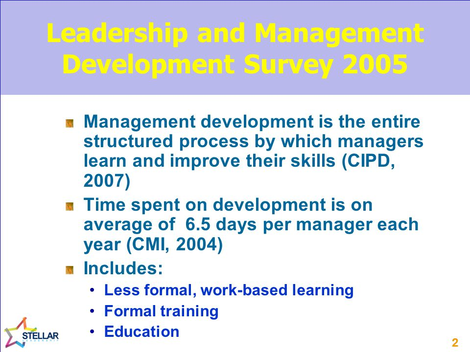 22 Leadership and Management Development Survey 2005 Management development is the entire structured process by which managers learn and improve their