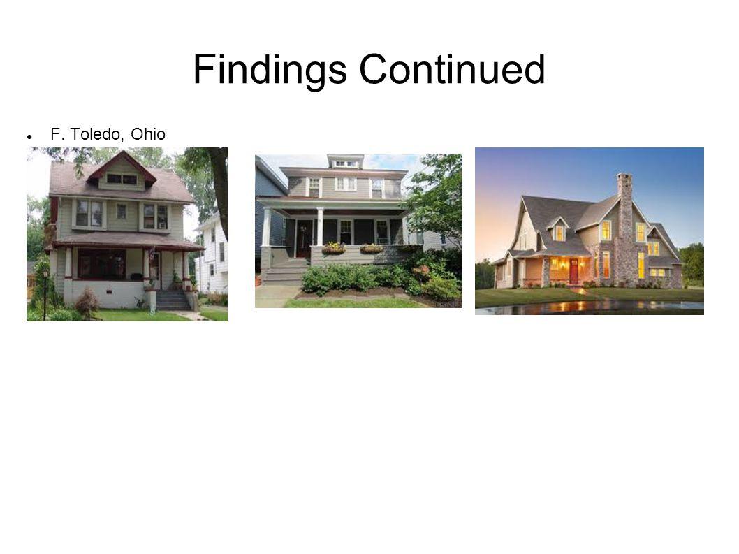 Findings Continued F. Toledo, Ohio