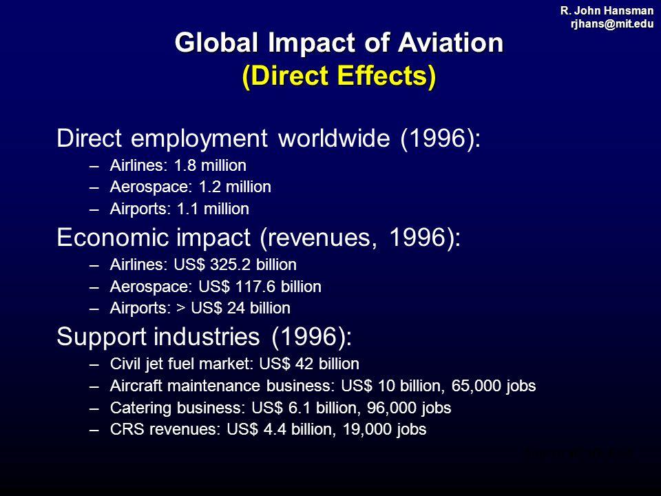 R. John Hansman rjhans@mit.edu Global Impact of Aviation (Direct Effects) Direct employment worldwide (1996): –Airlines: 1.8 million –Aerospace: 1.2 m