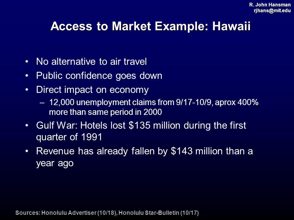 R. John Hansman rjhans@mit.edu Access to Market Example: Hawaii No alternative to air travel Public confidence goes down Direct impact on economy –12,