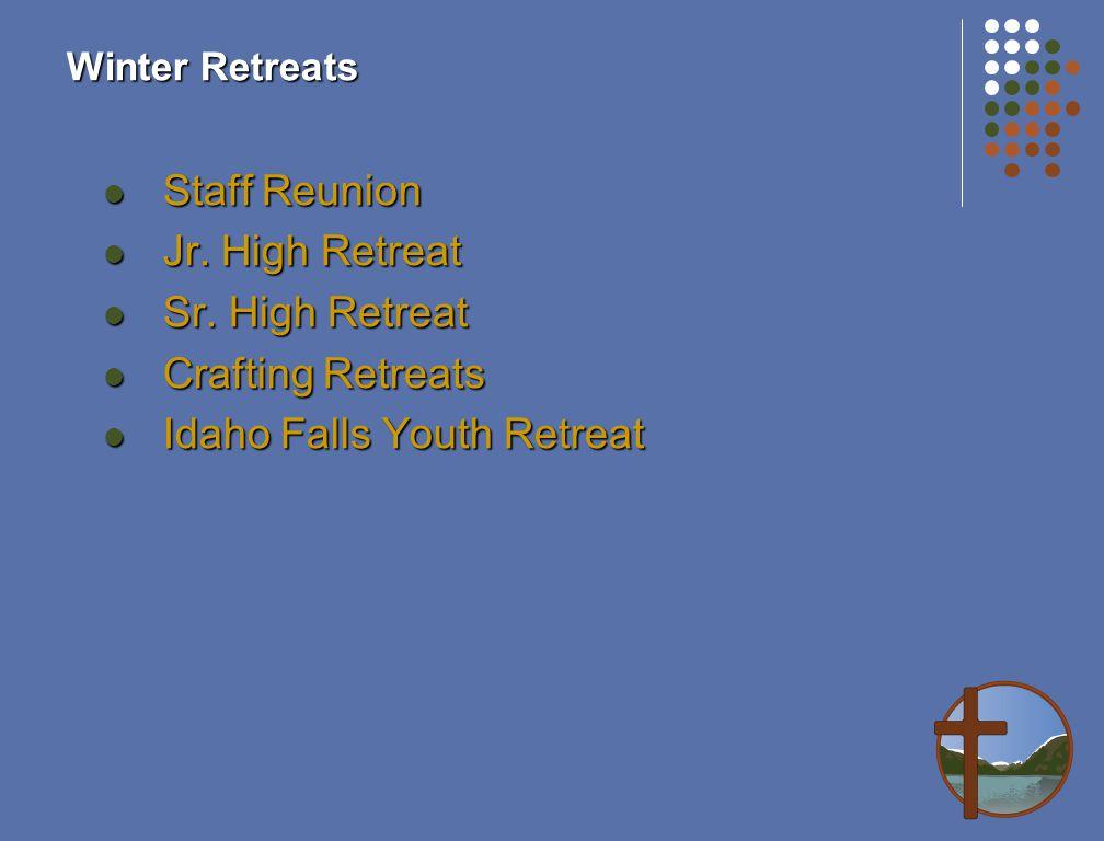 Winter Retreats Staff Reunion Staff Reunion Jr. High Retreat Jr.