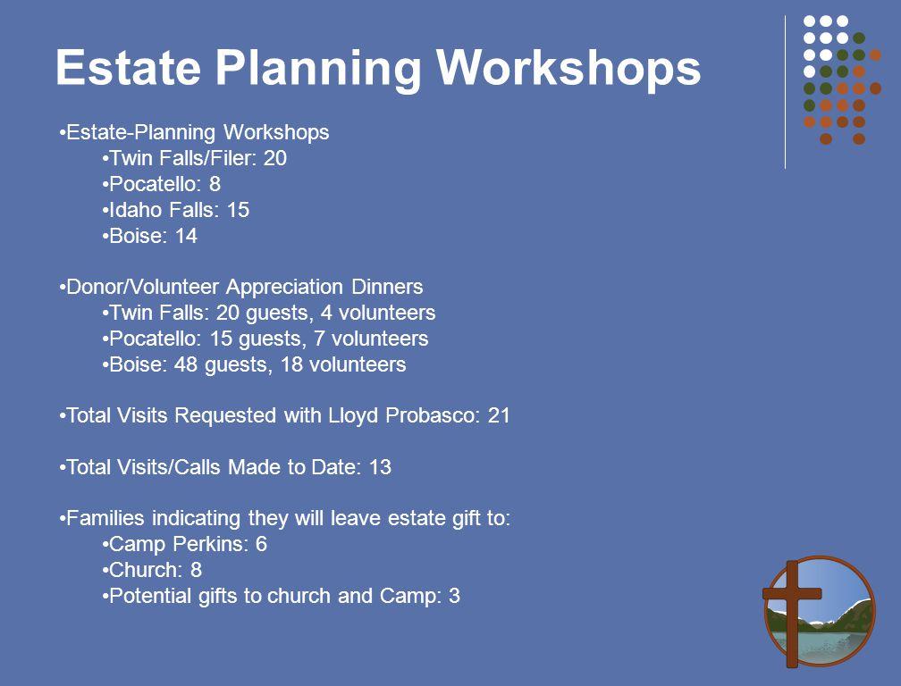 Estate Planning Workshops Estate-Planning Workshops Twin Falls/Filer: 20 Pocatello: 8 Idaho Falls: 15 Boise: 14 Donor/Volunteer Appreciation Dinners T