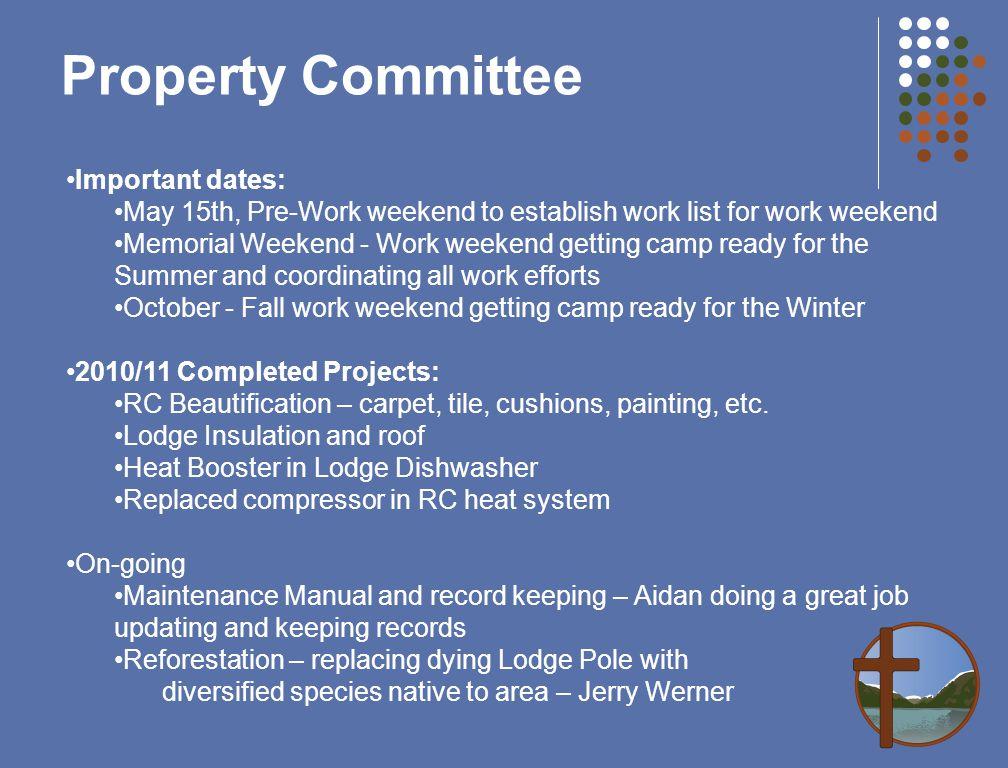Important dates: May 15th, Pre-Work weekend to establish work list for work weekend Memorial Weekend - Work weekend getting camp ready for the Summer