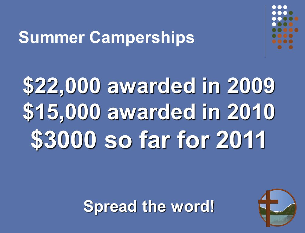 Summer Camperships $22,000 awarded in 2009 $15,000 awarded in 2010 $3000 so far for 2011 Spread the word!