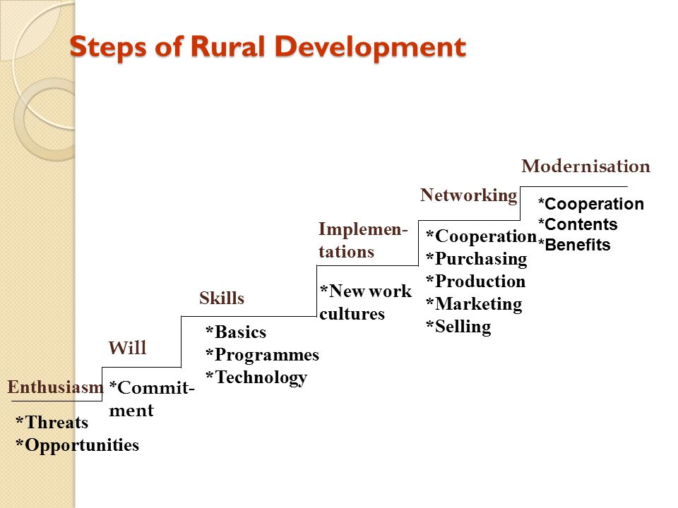Steps of Rural Development Enthusiasm Skills Implemen- tations Networking *Threats *Opportunities *Basics *Programmes *Technology *New work cultures *