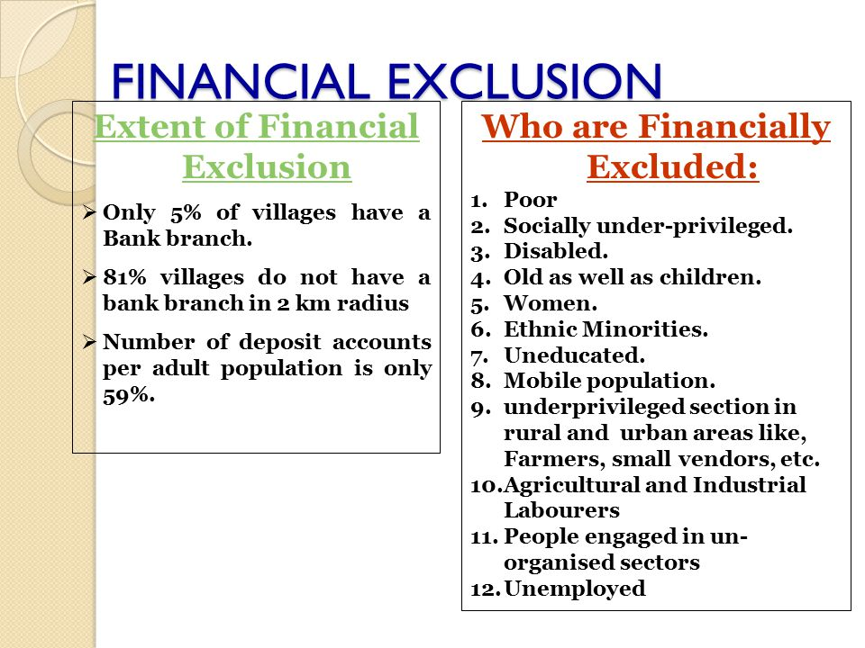 Financial Exclusion is multi-dimensional