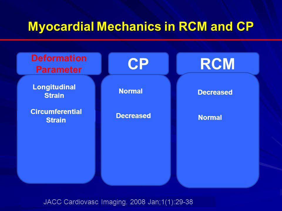 Myocardial Mechanics in RCM and CP Deformation Parameter CPRCM Longitudinal Strain Normal Circumferential Strain Decreased Normal JACC Cardiovasc Imag