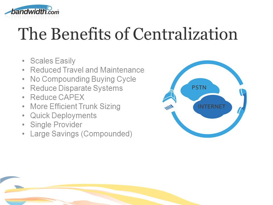 The Benefits of Centralization Scales Easily Reduced Travel and Maintenance No Compounding Buying Cycle Reduce Disparate Systems Reduce CAPEX More Efficient Trunk Sizing Quick Deployments Single Provider Large Savings (Compounded) INTERNET PSTN