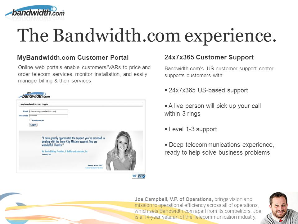 The Bandwidth.com experience.