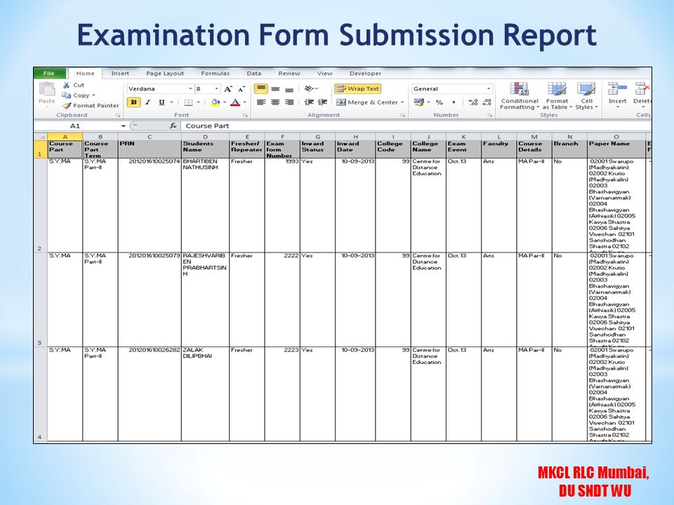 MKCL RLC Mumbai, DU SNDT WU Examination Form Submission Report